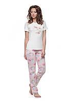 Пижама для женщин, комплект для сна, штаны и футболка, розы, LNP 139/001, 95% хлопок, ELLEN