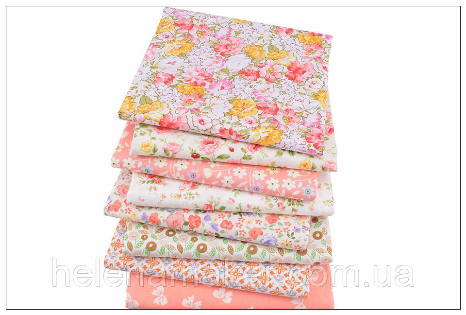 Набор отрезов ткани для пэчворка, скрапбукинга, рукоделия в персиковой гамме (8 отрезов  40*50 см)