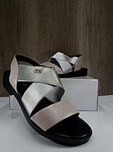 Женские босоножки розовые с серебристой вставкой на низком ходу , фото 3