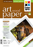 Фотобумага ColorWay ART матовая,факт. дерево 220г,м, 10л,  A4