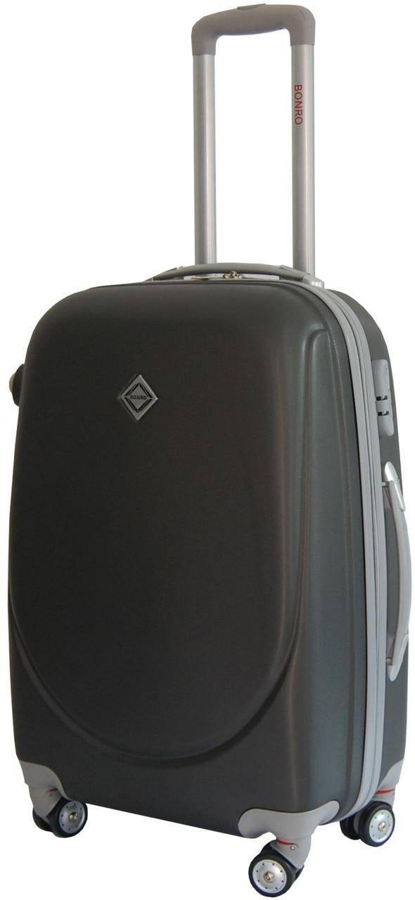 Дорожный чемодан на колесах Bonro Smile с двойными колесами Темно-серый Большой