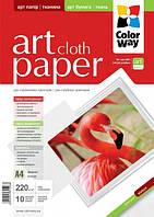 Фотобумага ColorWay ART матовая факт. ткань 220г,м, 10л,  A4