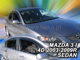 Дефлекторы окон (ветровики)  Mazda 3  2003-> 4D sedan 4шт (Heko)