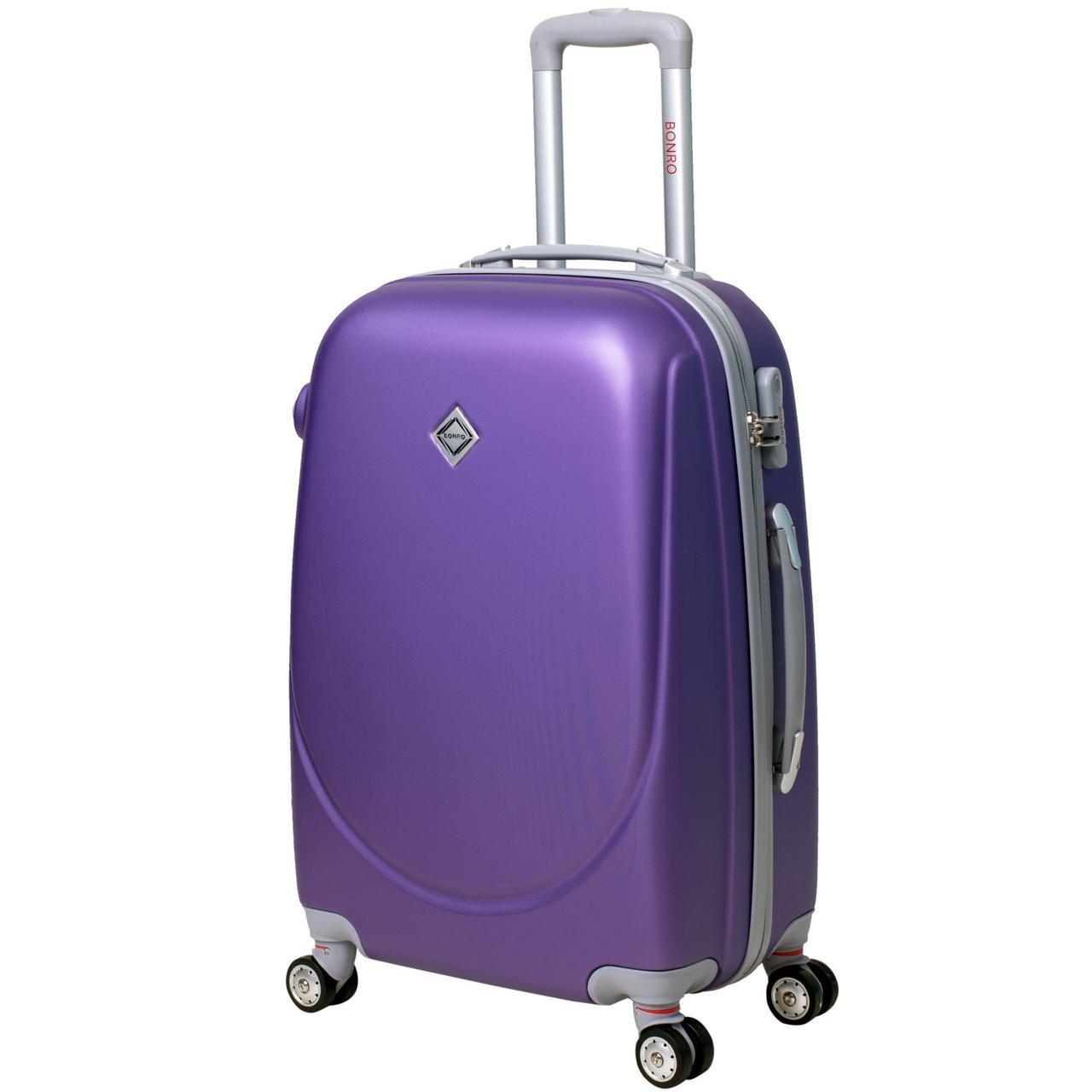 Дорожный чемодан на колесах Bonro Smile с двойными колесами Фиолетовый Большой