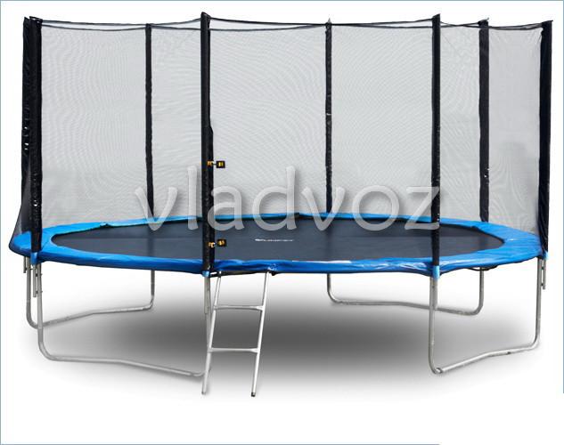 Батут детский уличный с защитной сеткой и лестницей для дачи Funfit 435 см.