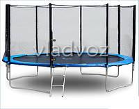 Батут детский уличный с защитной сеткой и лестницой для дачи Funfit 252 см.