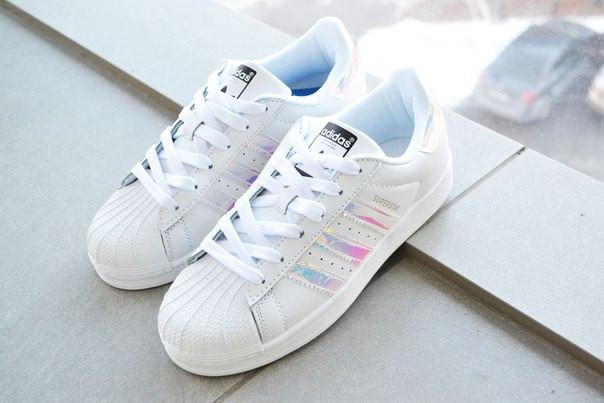 035b9f2b Распродажа! Акция! Подростковые+женские кроссовки Adidas superstar белые с  радужным перламутром 41 размер