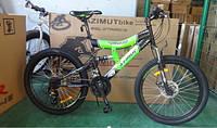 Горный подростковый велосипед 24 дюйма Azimut Tornado черно-зеленый