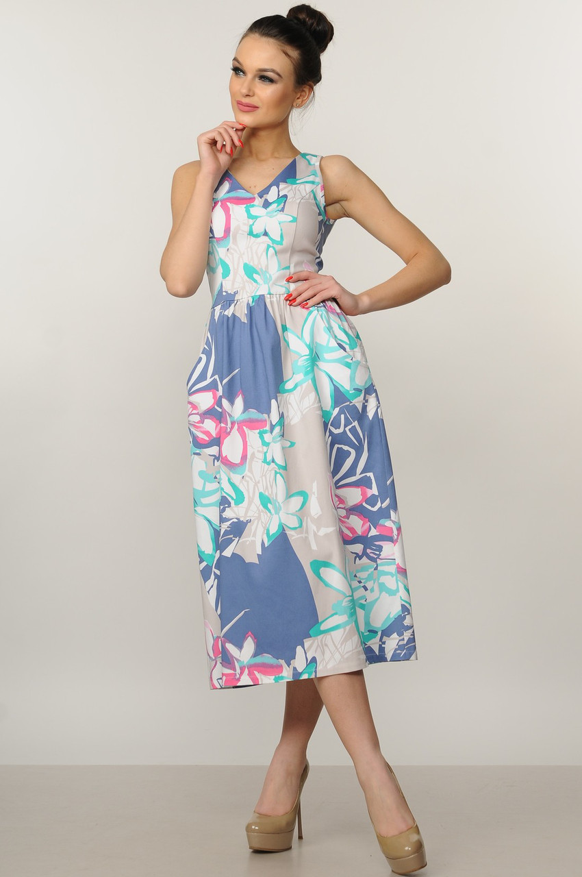 0fb95920c51 Женственное летнее платье-сарафан из хлопка