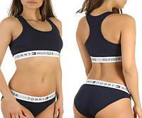 4 цвета Женский спортивный комплект Tommy Hilfiger Томми Хилфигер топ и слипы трусики реплика