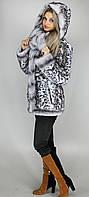 Молодежная короткая шубка леопард серо-голубой