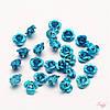 Металлическая бусина 6х4,5мм синяя роза для рукоделия