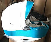 Коляска Bebe Mobile Toscana 791S белая кожа-бирюзовый