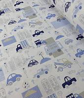 """Хлопок 50х40 см """"Машинки"""" голубые на белом, фото 1"""