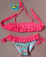 Детский купальник с оборочками ярко-розовый