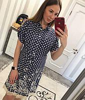 Летнее джинсовое платье Горошки (кружево), фото 1