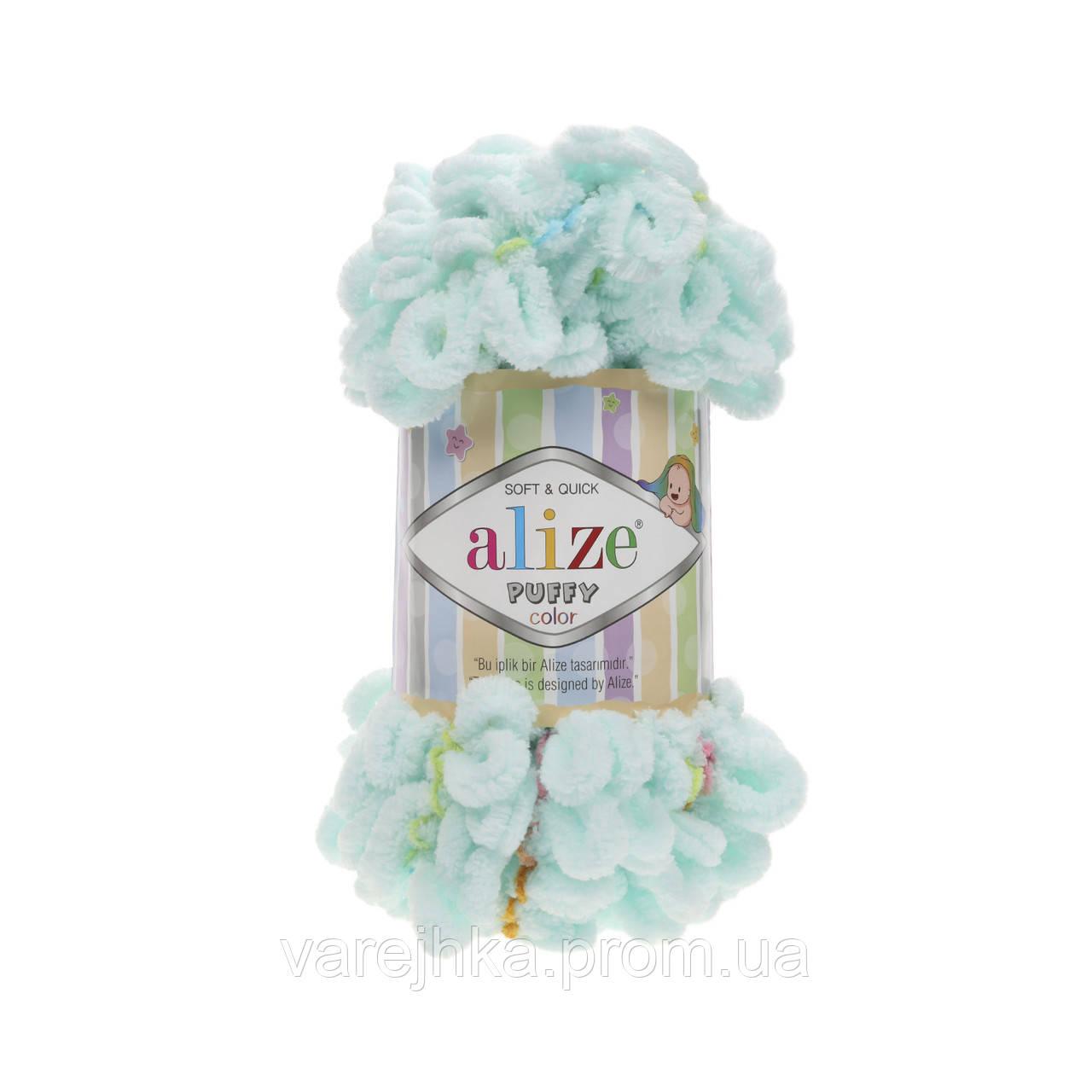 пряжа для вязания руками Alize Puffy Color 5860 ализе пуфи колор