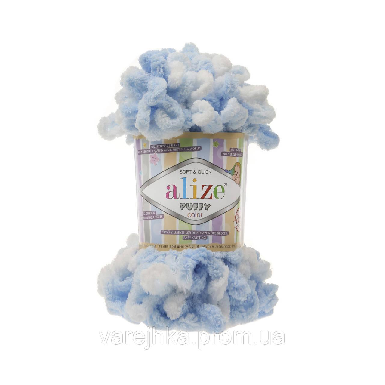 пряжа для вязания руками Alize Puffy Color 5865 ализе пуфи колор
