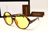 Женские солнцезащитные очки Gucci 17154 copy (лео с желтой линзой), фото 1