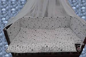 Детский постельный набор в кроватку 8 предметов белый Звезда