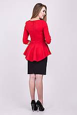 Элегантный деловой костюм: юбка-карандаш + блузка с баской, фото 3