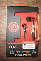 Вакуумные наушники Music Stereo Earbuds MD-A6 ( наушники для музыки )