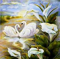 """Алмазная вышивка размер изображения 30х30 - набор """"Лебеди в лилиях"""""""
