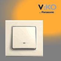 Выключатель одноклавишный с подсветкой VIKO Linnera Крем