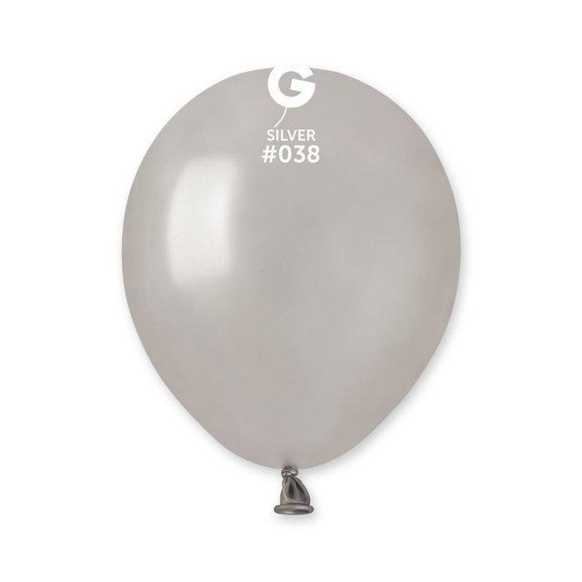 """Металлик серебро 5"""" (13 см). Латексные шары 100 шт. TM Gemar"""