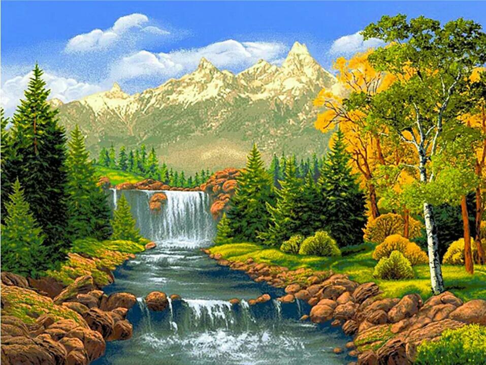 """Алмазная мозаика 40х30см - набор """"Осень в горах"""""""
