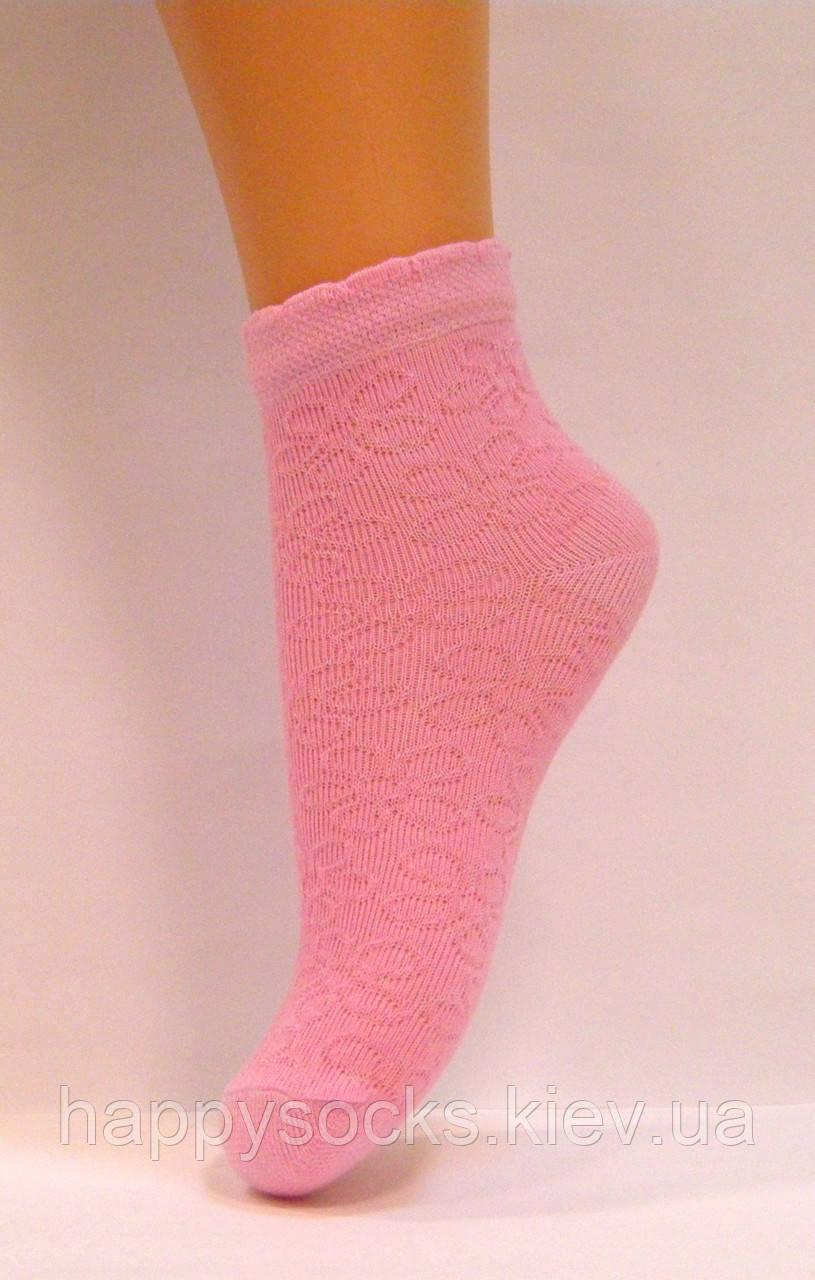 Ажурные летние носки розового цвета для девочек