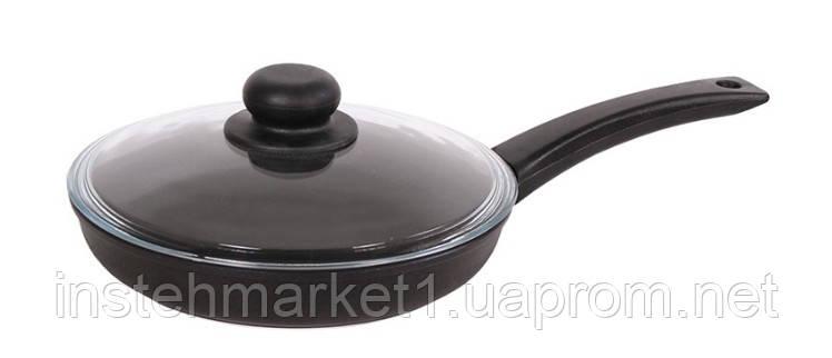 Сковорода БИОЛ 2204ПС (діаметр 220 мм), алюмінієва з антипригарним покриттям, бакелітова ручка, кришка