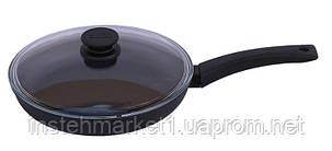 Сковорода БИОЛ 2204ПС (діаметр 220 мм), алюмінієва з антипригарним покриттям, бакелітова ручка, кришка, фото 2