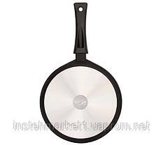 Сковорода БИОЛ 2004ПС (діаметр 200 мм) алюмінієва з антипригарним покриттям, бакелітова ручка, кришка, фото 2