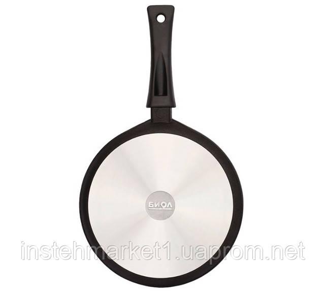 Сковорода БИОЛ 2404ПC (240х45 мм) алюминиевая с антипригарным покрытием, бакелитовая ручка, крышкав интернет-магазине