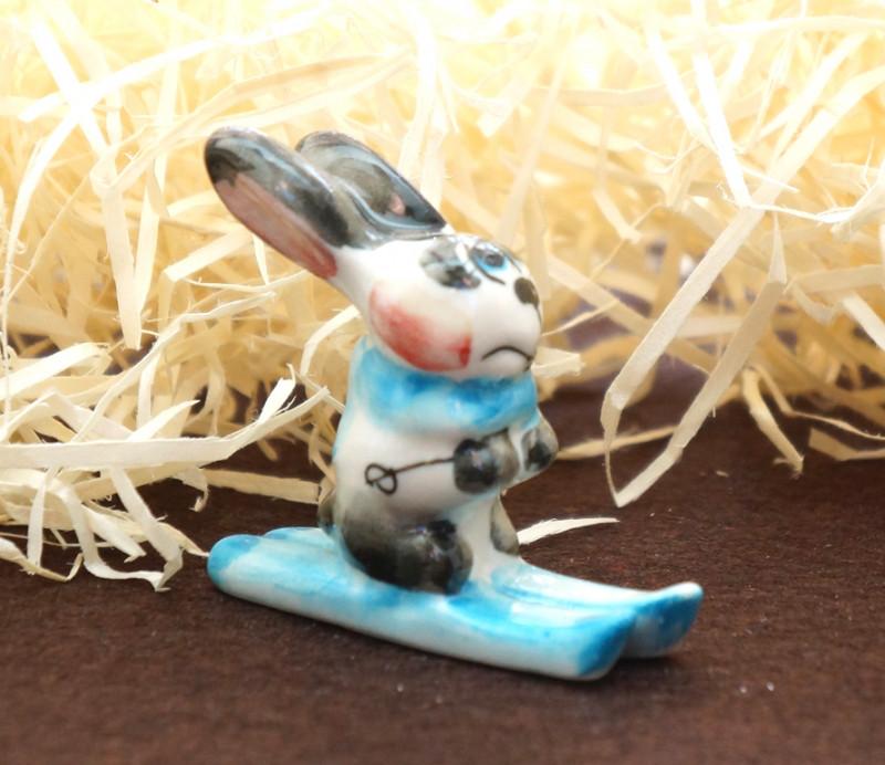Фигурка керамическая Заяц - лыжник