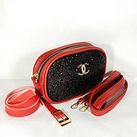 Женская сумка на пояс, бананка, клатч, кошелек, косметичка красный, фото 1