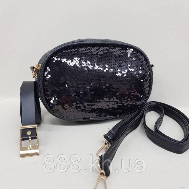 Женская сумка на пояс, бананка, клатч, кошелек, косметичка черный