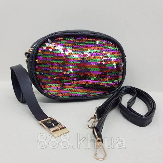 Женская сумка на пояс, бананка, клатч, кошелек, косметичка черный, фото 1