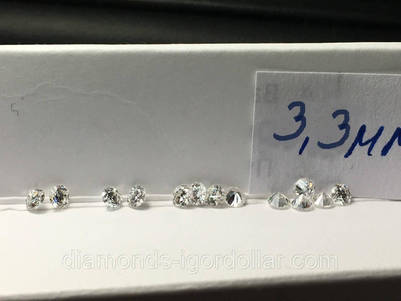 Бриллиант натуральный природный белый чистый купить в Украине 3,3 мм  0,14 карат 3/4-3/5