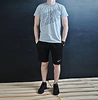 Летний комплект Nike футболка серая + черные шорты
