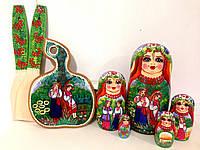 Подарочные креативные наборы: Матрешки 5в1 + кухонная доска и лопатки в украинском стиле 1