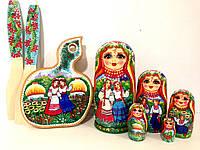 Подарки для женщин Матрешки 5в1, 18 см + кухонная доска и лопатки в украинском стиле 3