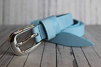 Голубой ремень женский тонкий светлый. Пастельный цвет