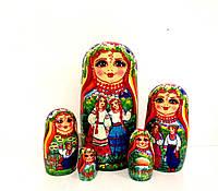 Подарки прикольные Матрешка большая 17 см, 5в1 ручной работы в украинском стиле, сюжет (5)