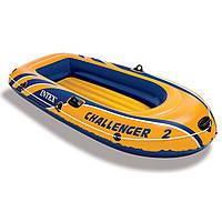 Двухместная надувная лодка Intex 68367 Challenger 2 Set 236 х 114 х  41 см с веслами и насосом KK