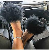 Хит сезона лето 2020 модные шлепанцы с натуральными перьями страуса 35, 36, 37, 38, 39, 40, 41, 42, фото 1