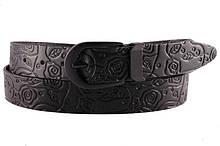 Женский кожаный тесненный ремень 3.5 см чорный