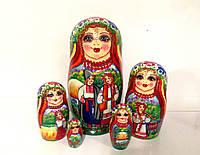Подарки национальные оригинальные Матрешка ручной работы большая 18 см, 5в1 украинский стиль (6)