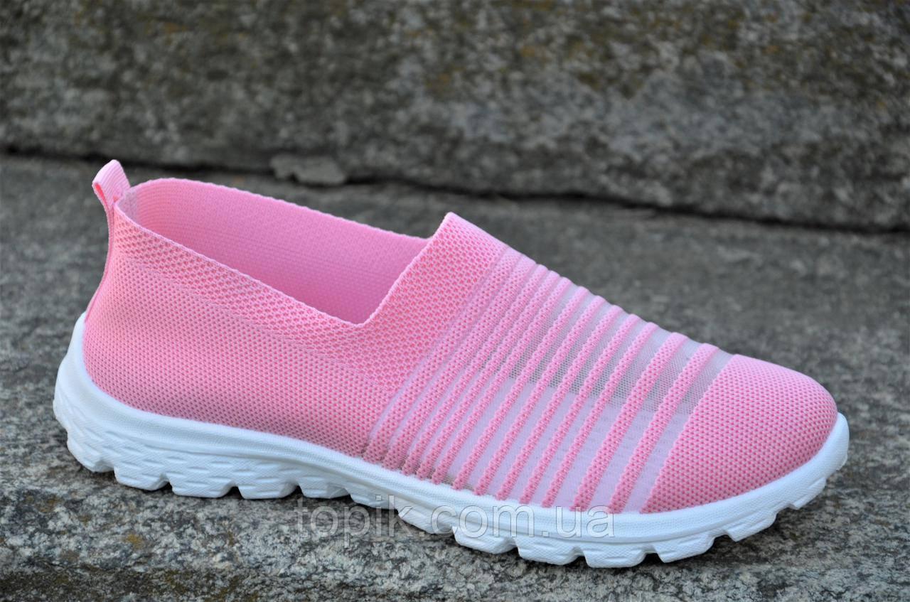 Мокасины слипоны женские подростковые розовые плотный текстиль практичные (Код: 1169)